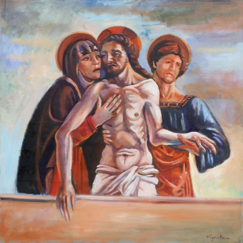 Art work by Luigi Pignataro Cristo Compianto - oil canvas