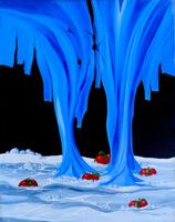 Quadro di Franco Lastraioli - Un bucato per un cielo bucato olio tela
