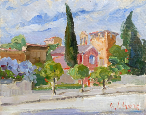 Art work by Gino Paolo Gori Chiesetta sul Lungarno a Firenze - oil canvas