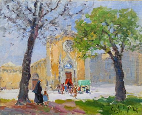 Quadro di Gino Paolo Gori Giovedi Santo, la visita delle sette chiese a Firenze - olio tela