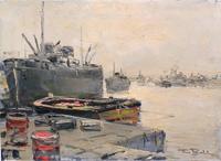 Quadro di Firma Illeggibile  Barche abbandonate