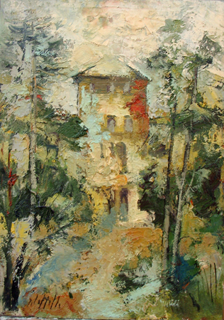 Art work by Emanuele Cappello Casa nel Bosco - oil canvas