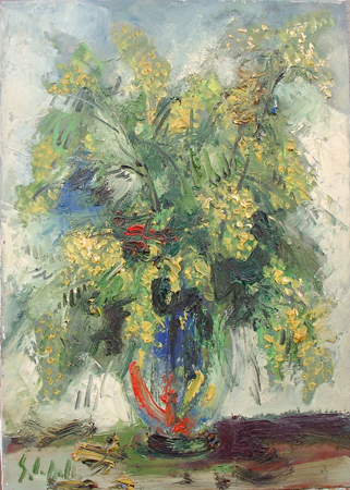 Art work by Emanuele Cappello Vaso con Mimosa - oil canvas