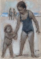 Quadro di Ermanno Toschi   Sulla spiaggia