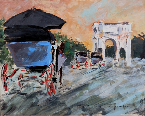 Quadro di firma Illeggibile Arco di Costantino a Roma - Pittori contemporanei galleria Firenze Art