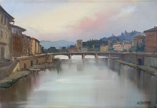 Quadro di Sergio Falorni Firenze da Ponte Vecchio - olio tela