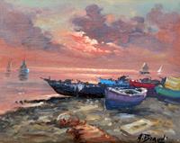 Quadro di A. Brandi - Barche olio tela
