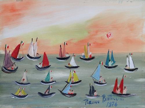 Quadro di Bruno Battaglini Marina - olio tela