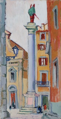 Quadro di Rodolfo Marma Piazza S.Trinita - olio tela