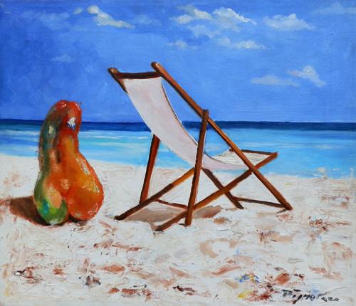 Quadro di Luigi Pignataro Sulla spiaggia - olio tela