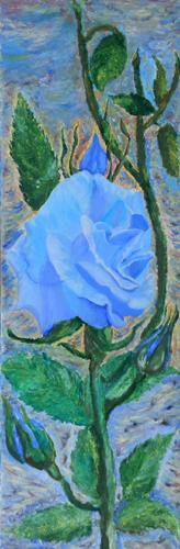 Quadro di  Setti Rosa blu - olio tela