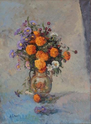 Art work by Gino Paolo Gori Vaso di fiori - oil canvas