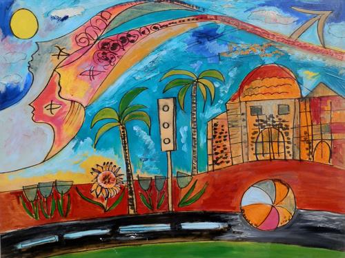 Quadro di Valentina Verani Paesaggio con case e sole - olio tavola