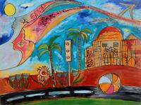 Quadro di Valentina Verani - Paesaggio con case e sole olio tavola