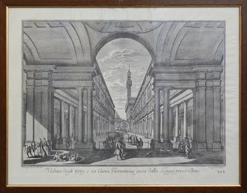 Quadro di  Antiquariato Veduta degli Ufizi, o sia Curia Fiorentina presa dalla Loggia presso Arno - stampa carta