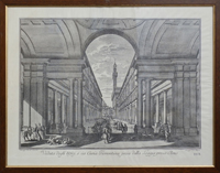 Quadro di  Antiquariato - Veduta degli Ufizi, o sia Curia Fiorentina presa dalla Loggia presso Arno stampa carta