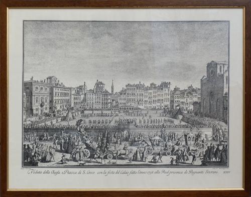 Quadro di  Antiquariato Veduta della Chiesa e Piazza di S.Croce con la festa del calcio fatta l'anno 1738 alla Real presenza dei Regnanti Sovrani - stampa carta