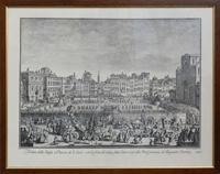 Quadro di  Antiquariato - Veduta della Chiesa e Piazza di S.Croce con la festa del calcio fatta l'anno 1738 alla Real presenza dei Regnanti Sovrani stampa carta