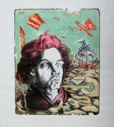 Art work by Roberto Barni Il volo della memoria - lithography paper