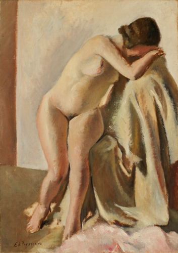 Art work by Edmondo Prestopino Figura - oil canvas