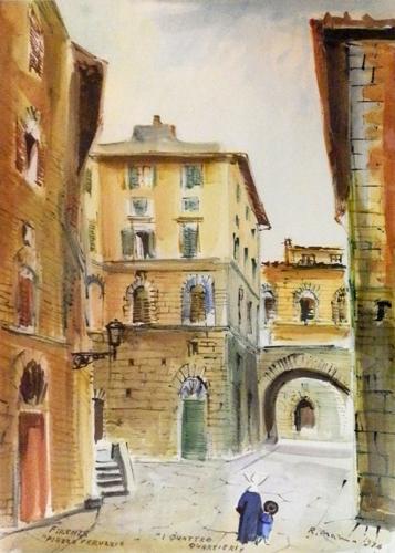 Quadro di Rodolfo Marma Piazza Peruzzi a Firenze - acquerello carta