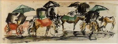 Art work by Rodolfo Marma Le carrozzelle - watercolor paper