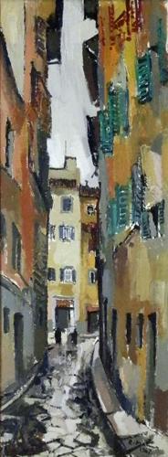 Quadro di Rodolfo Marma Via Mosca, Firenze - olio tela