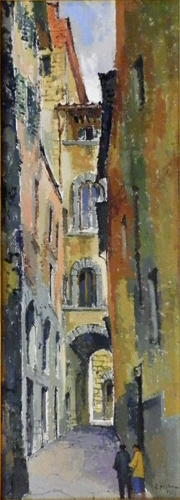 Quadro di Rodolfo Marma Vicolo delle Misure - olio tela