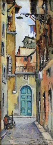 Art work by Rodolfo Marma Via del Crocifisso - oil canvas