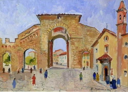 Quadro di Rodolfo Marma Porta Romana - olio tela