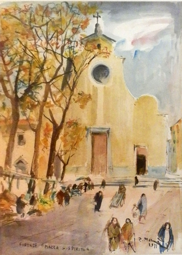 Art work by Rodolfo Marma Piazza Santo Spirito,Firenze - watercolor paper