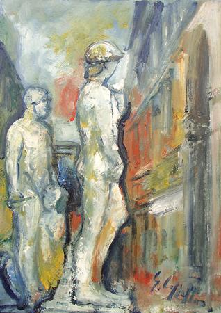 Quadro di Emanuele Cappello David di Michelangelo all'entrata di Palazzo Vecchio - olio tela