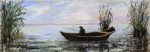 Quadro di Loredana Rizzetto Pescatore - olio tavola