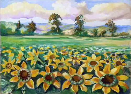 Art work by Luigi Pignataro Campo di Girasoli - oil canvas