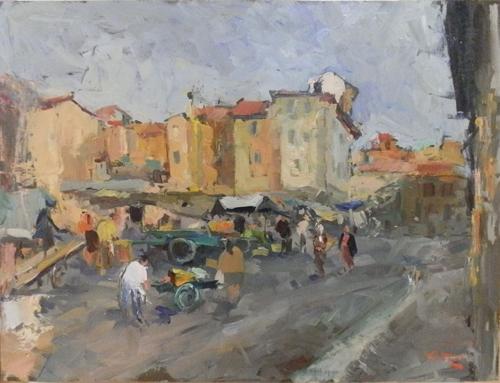 Quadro di Gino Tili Mercatino - olio tavola