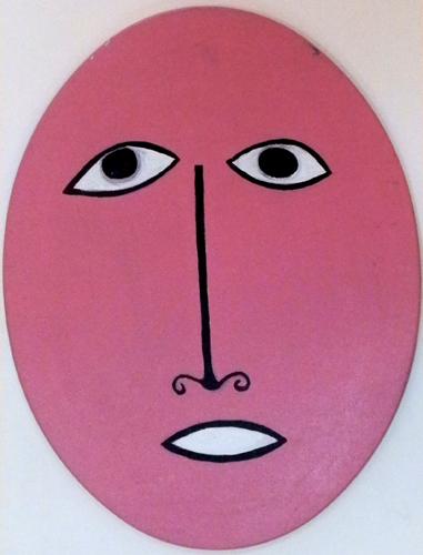 Art work by Livio Cogoli Volto rosa - oil table