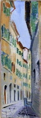 Quadro di Rodolfo Marma Via della Vigna Vecchia - Firenze - olio cartone telato
