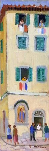 Quadro di Rodolfo Marma Angolo di Piazza Ciompi - Firenze - olio cartone telato