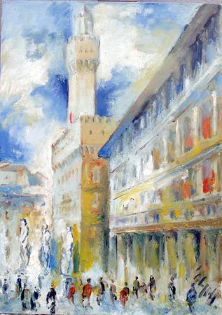Quadro di Emanuele Cappello Piazza della Signoria e Uffizi, olio su tela 70 x 50 | FirenzeArt Galleria d'arte