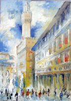 Quadro di Emanuele Cappello  Piazza della Signoria e Uffizi