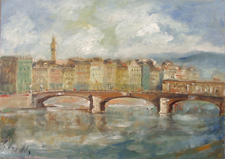 Quadro di Emanuele Cappello Ponte Santa Trinità - olio tela