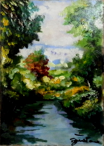 Art work by Luigi Pignataro Il fiume - oil hardboard