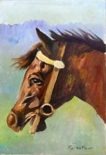 Quadro di Luigi Pignataro Testa di Cavallo - olio cartone