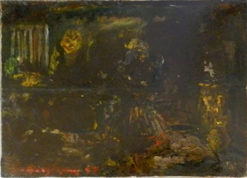 Quadro di Guido Borgianni Commedia - olio cartone telato