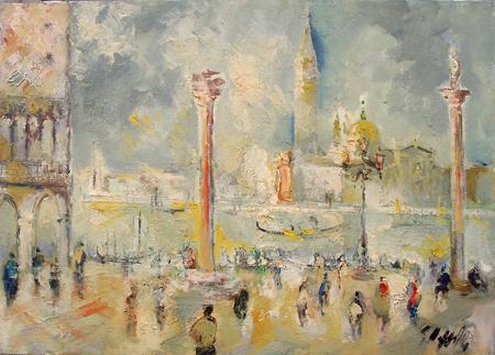 Quadro di Emanuele Cappello Venezia da Piazza San Marco - olio tela