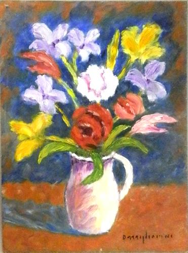 Quadro di Dino Migliorini Vaso di fiori - olio faesite