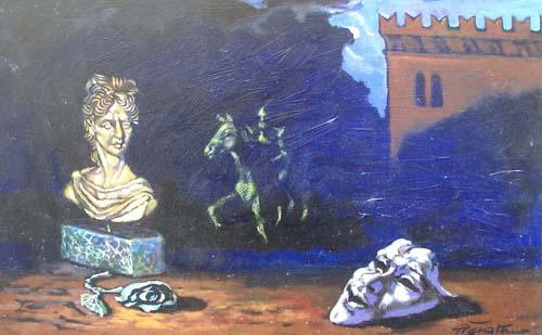Quadro di Luigi Pignataro Busto e maschera - olio faesite