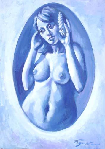 Quadro di Luigi Pignataro Nudo blu - tempera faesite