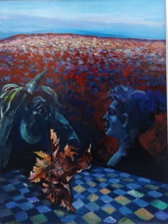 Quadro di Luigi Pignataro Le foglie sono morte ma non per sempre  - olio faesite