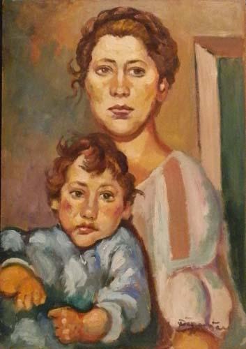 Quadro di Luigi Pignataro Maternita - olio tavola